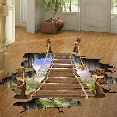 3D Floor/Wall Sticker Removable Suspension Bridg Sticker Home Mural Decals Art