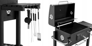 SEJR 2020 Charcoal BBQ Grill Trolley Smoker Barbecue Grill with Side Table S/M/XL