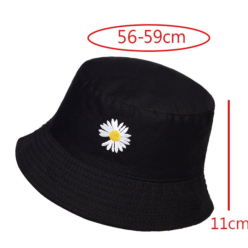 fashion summer Unisex Bucket hat embroidery Small daisies Wearable on both sides student Harajuku Canvas hat Fashion accessories