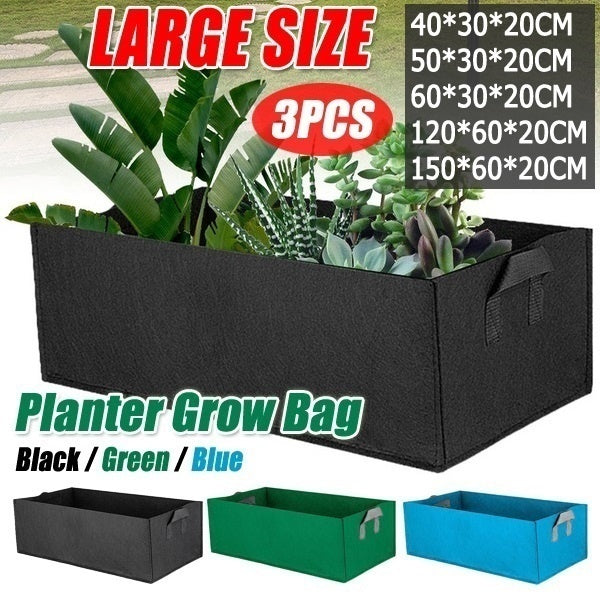 3PCS New Fabric Raised Garden Bed Round Planting Container Grow Bags Breathable Felt Fabric Planter Pot Environmentally Bags For Plants,Flowers,Vegetables (5 Sizes,3 Colors)