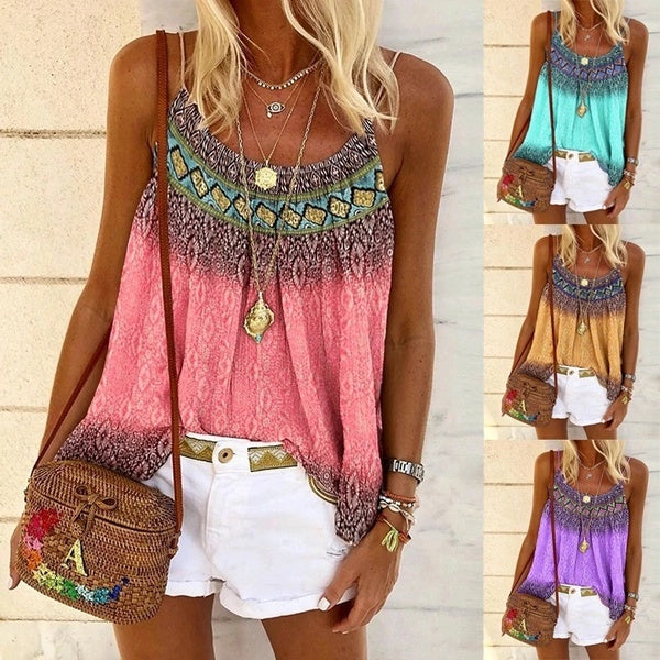 Women's Summer Sleeveless Tank Cotton Vest Printed Tank Tops