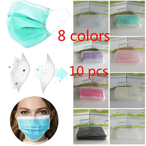 10Pcs Multiplecolor 3 Layer Anti Dust Disposable Mouth Mask Non-Woven Meltblown Anti-Dust Face Cover Protective Women Fashion