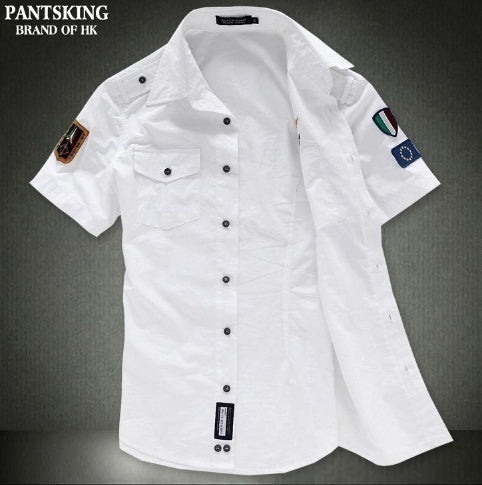 Stand Collar Cotton Print Short Sleeve Single Breasted Men's Shirts