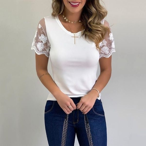 Women's Summer Scalloped Lace Short Sleeves V Neck Tops Tee Shirt