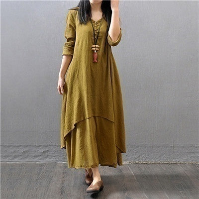 2020 New Women Vintage V Neck Cotton Linen Long Sleeve Tunic Baggy Double Layers Loose Maxi Dress Plus Size Autumn Dress S-5XL