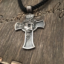 将图片加载到图库查看器,Jesus Christ Cross Necklace 'Religious Leather Pendant