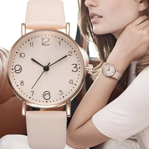 Fashion Women'S Casual Leather Quartz Wrist Watch Exquisite Ladies Dress Beige Simple Clock Analog Watch Christmas Gift Relogio Feminino