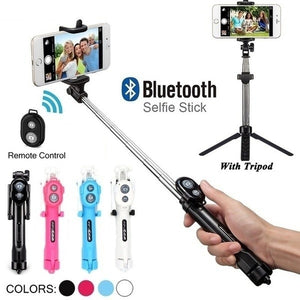 Stainless Steel Bluetooth Cell Phone Selfie Stick Monopod Tripod For Iphone
