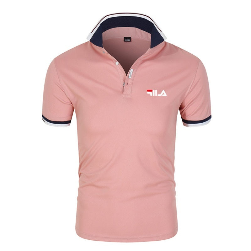 Lapel POLO Shirt Printed Short-sleeved T-shirt Top Men's Summer Personality Cultivating Short-sleeved Shirt