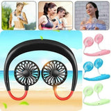 Portable USB Rechargeable Wearable Neckband Dual Cooling Mini Fan Neck Hanging