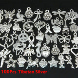 100/150pcs Random Mixed Shape Tibtan Silver Charms Pendants for DIY Jewelry Making for Women Men for Necklace Bracelet Making