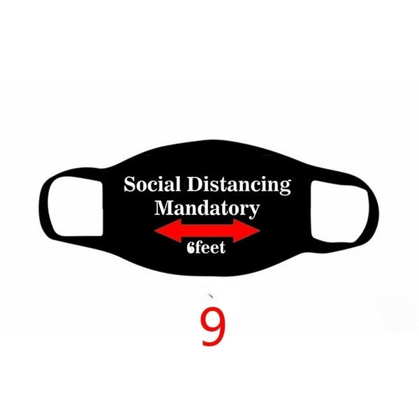 New Fashion social distance Print Cotton Mask Face Masks Dust Proof Windproof Mask Washable Unisex Mask