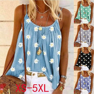 Women Summer Sling Sleeveless Tops Loose Floral Printed Vest T-shirt Tops Plus Size