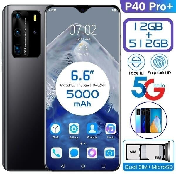 2020 New Pattern 6.6 Inch Mobilephone 4G 5G P40 Pro+ Smartphone Ultra-thin 12+512GB Face Unlock Mobilephone Dual Card Phone Supports TF Card Smartphone