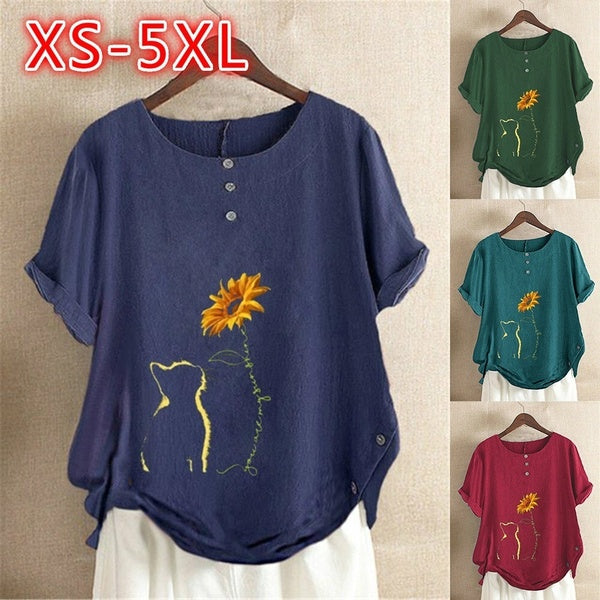 Cotton Shirt Tops Women's Summer Casual Loose Short Sleeved Printed Ladies Shirt