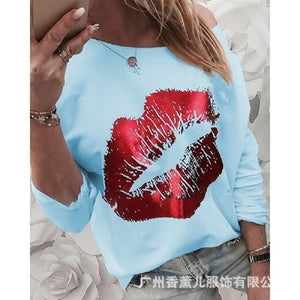 Cotton Printed Long Sleeved T Shirt Tops Women Plus Size Casual Loose Shirt Tops