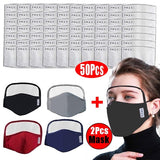 2020 NEW 2Pcs Cotton Mask Dustproof Protective Mask with Eyes Shield with 2/10/30/50 Filters