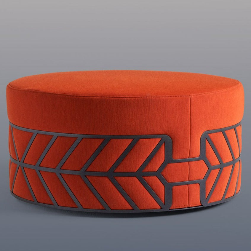 Fabric: CAT. Y 23216 Orange. Steel Finish Lacquer: Textured Black.