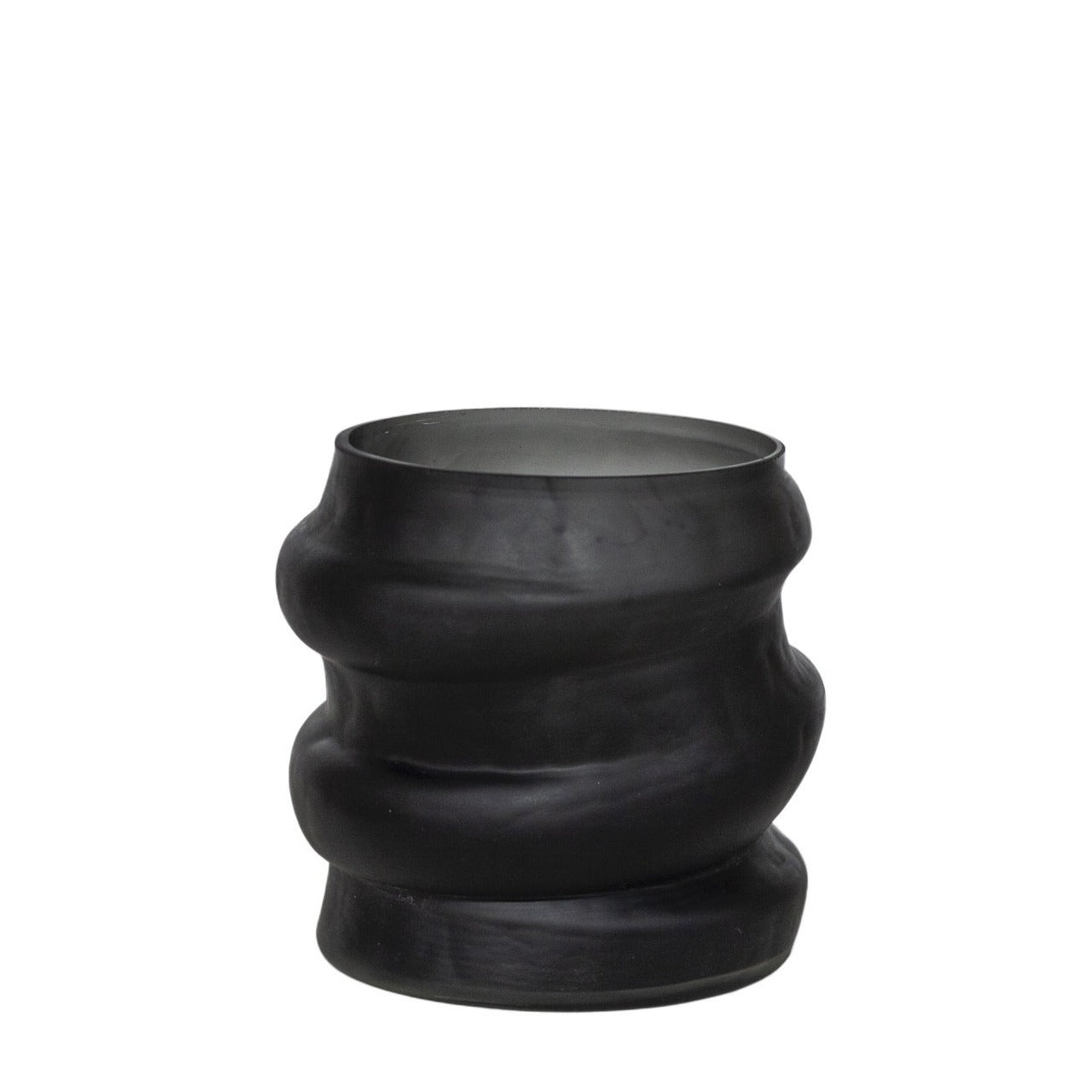 Matt Black Wide Stacked Vase