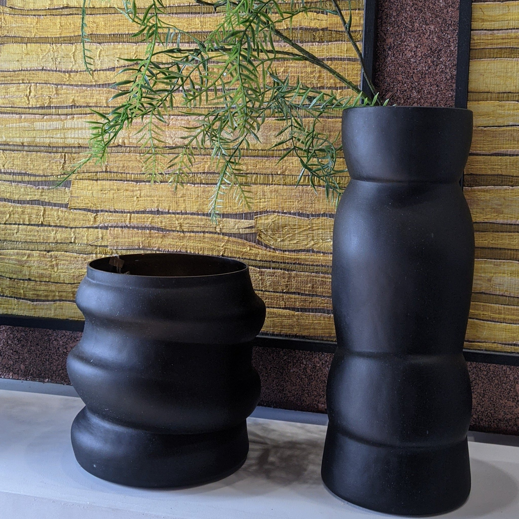 Dôme Deco Black Stacked Tall Large Glass Vase