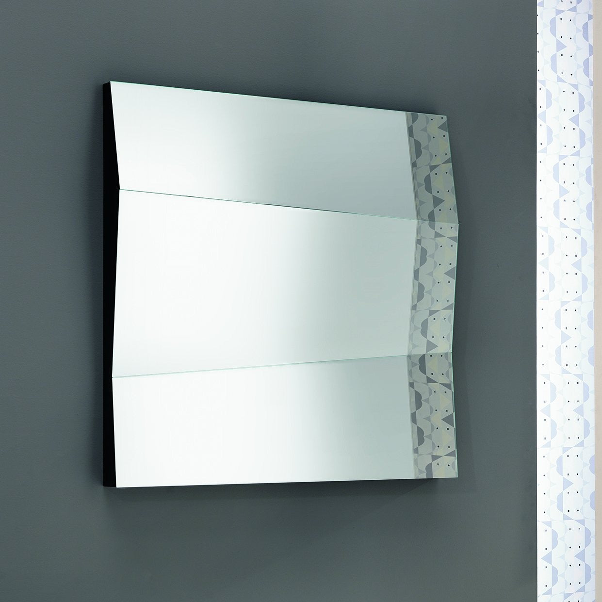 Size : 98 x 9 x h 98 cm. Secondary image shows 2No. mirrors aligned.
