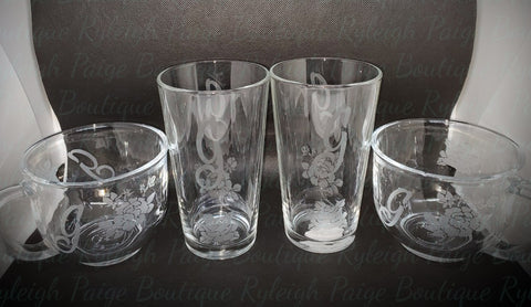 Etched glass set | Ryleigh Paige Boutique