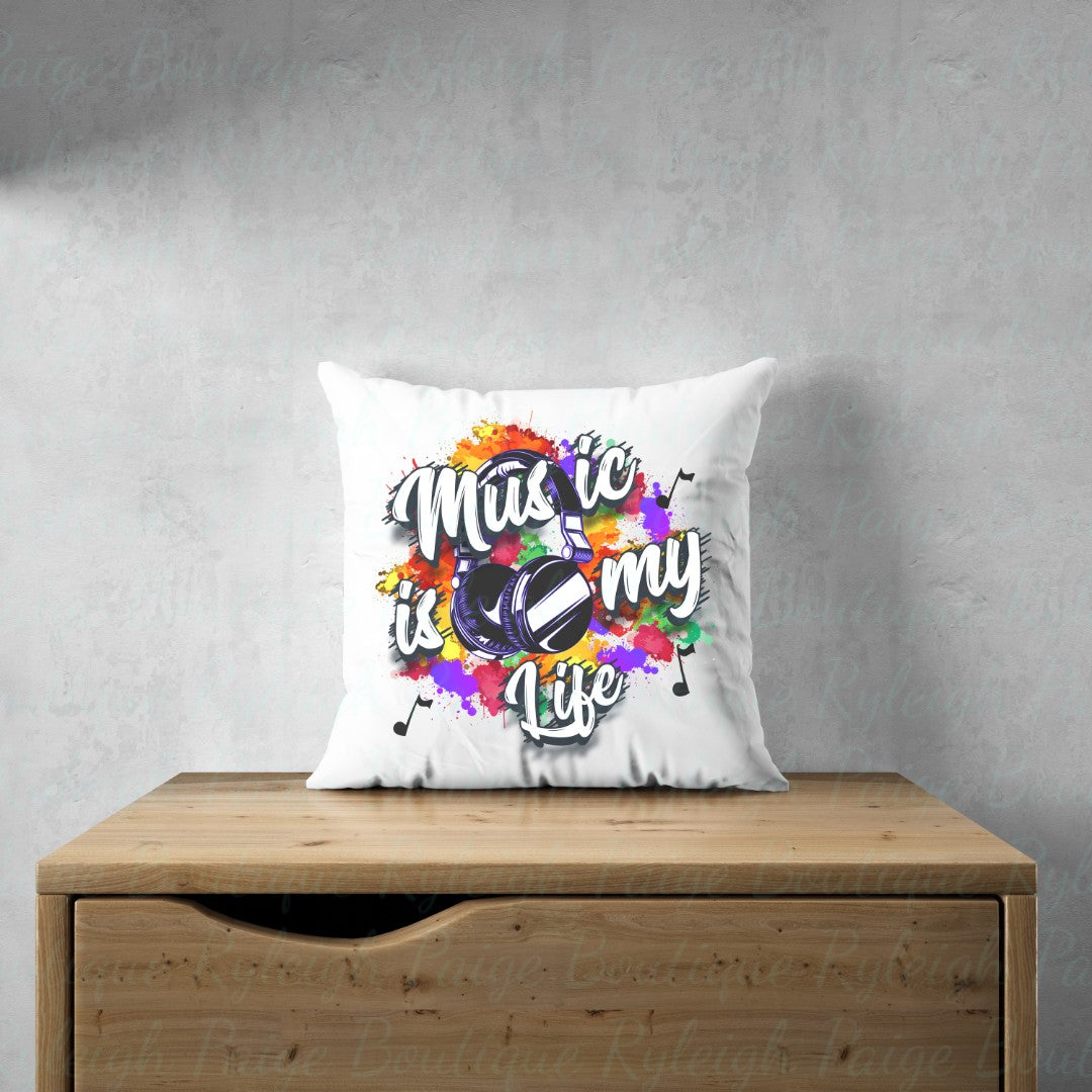 Music is life Satin pillows | Ryleigh Paige Boutique