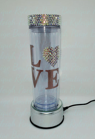 Love Acrylic 16 oz. Tumbler w/rhinestoned heart | Ryleigh Paige Boutique