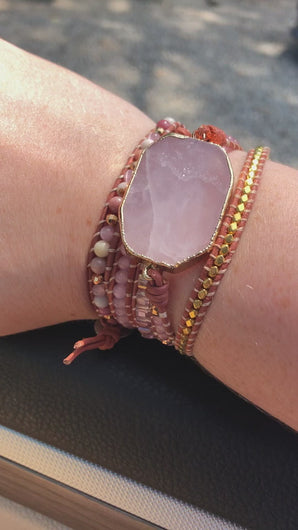 Rose Quartz 5 Strand Handmade Bracelet Video FiercelyGreen