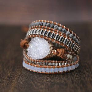 White Quartz 5 Strand Leather Wrap Bracelet FiercelyGreen