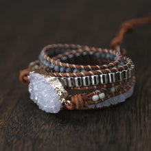 Load image into Gallery viewer, White Quartz 5 Strand Leather Wrap Bracelet FiercelyGreen