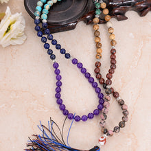 Load image into Gallery viewer, Mala Stone Tassel Necklace FiercelyGreen