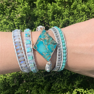 Imperial Jasper 5 Strand Leather Wrap Bracelet FiercelyGreen