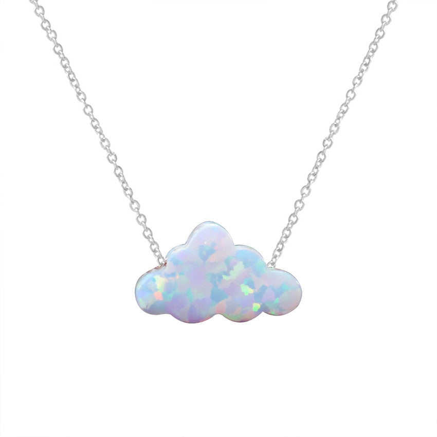 Silver Opal Cloud Necklace FiercelyGreen