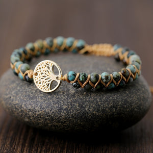 Tree and Stones Leather Wrap Bracelet FiercelyGreen