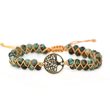 Load image into Gallery viewer, Tree and Stones LeatherWrap Bracelet FiercelyGreen