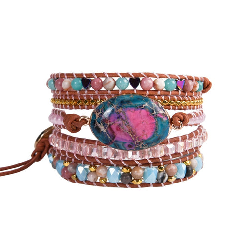 Bohemian Art Leather Wrap Bracelet FiercelyGreen