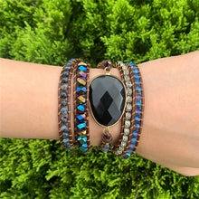 Load image into Gallery viewer, Onyx 5 Strand Leather Wrap Bracelet FiercelyGreen