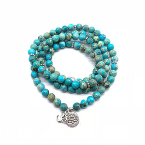 Turquoise and Amazonite Mala Bead Bracelet / Necklace FiercelyGreen