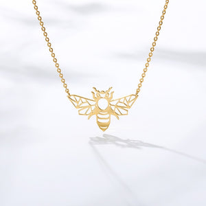 Origami Bee Pendant Necklace Yellow Gold FiercelyGreen