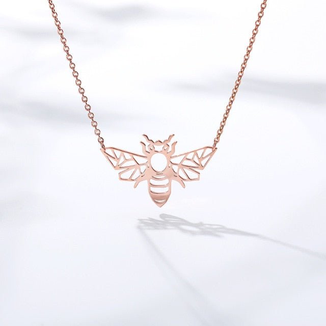 Origami Bee Pendant Necklace Rose Gold FiercelyGreen