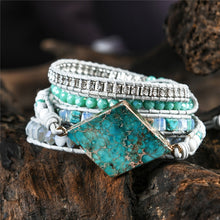 Load image into Gallery viewer, Imperial Jasper 5 Strand Leather Wrap Bracelet FiercelyGreen