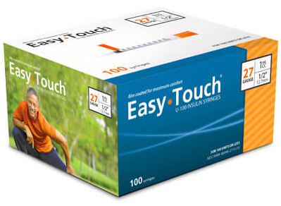 827155 EasyTouch U-100 Insulin Syringes, 27g, 1cc, 1/2″ (12.7mm), Orange