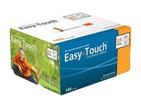 827555 EasyTouch U-100 Insulin Syringes, 27g, .5cc, 1/2 (12.7mm), Orange