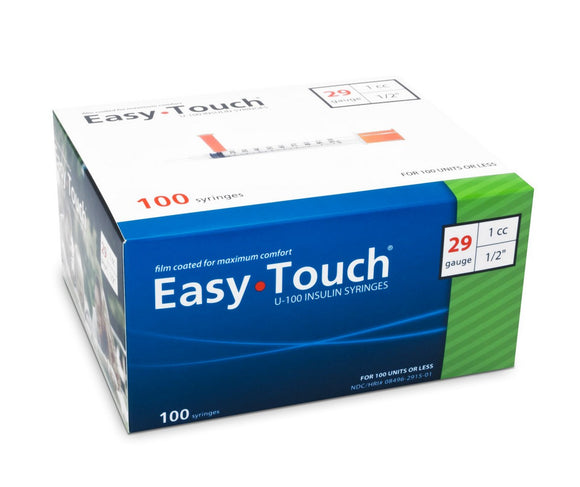 829155 EasyTouch U-100 Insulin Syringes, 29g, 1cc, 1/2″ (12.7mm), Green
