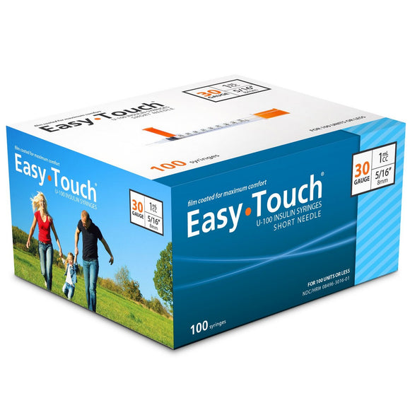 830165 EasyTouch U-100 Insulin Syringes, 30g, 1cc, 5/16″ (8mm), Blue