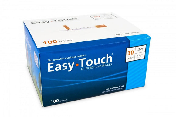 830355 EasyTouch U-100 Insulin Syringes, 30g, .3cc, 1/2″ (12.7mm), Blue