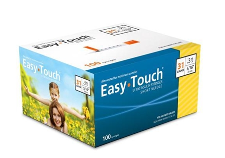 831365 EasyTouch U-100 Insulin Syringes, 31g, .3cc, 5/16 (8mm), Yellow
