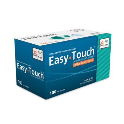 832081 EasyTouch® Pen Needles – 100 count, 32g, 5/32″ (4mm), Teal
