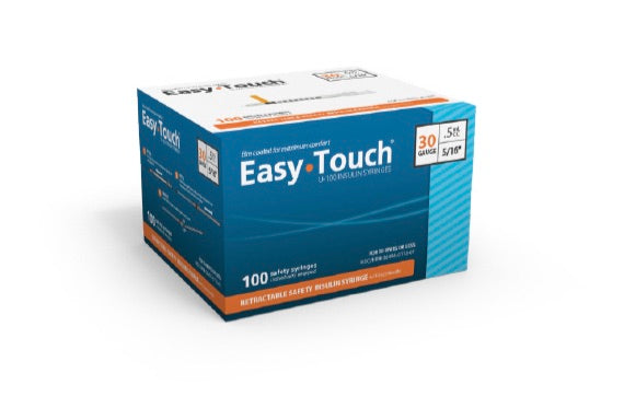862955 EasyTouch Retractable Safety Insulin Syringe w/ Fixed Needle, 0.5 mL, 29G, 12.7mm, 1/2""